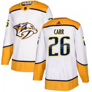 Daniel Carr Nashville Predators Men's Adidas Authentic White ized Away Jersey