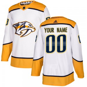 Men's Adidas Nashville Predators Customized Authentic White Away Jersey