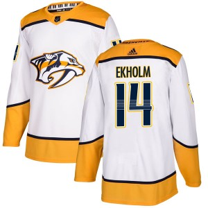 Mattias Ekholm Nashville Predators Men's Adidas Authentic White Away Jersey
