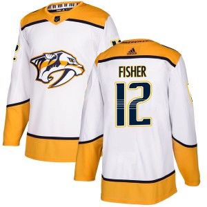 Mike Fisher Nashville Predators Men's Adidas Authentic White Away Jersey