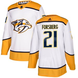 Peter Forsberg Nashville Predators Men's Adidas Authentic White Away Jersey