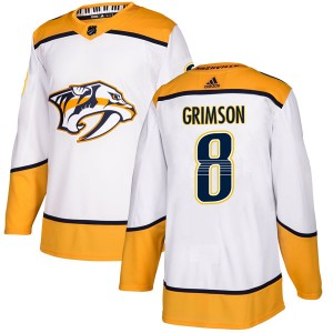 Stu Grimson Nashville Predators Men's Adidas Authentic White Away Jersey