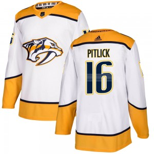 Rem Pitlick Nashville Predators Men's Adidas Authentic White Away Jersey
