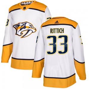 David Rittich Nashville Predators Men's Adidas Authentic White Away Jersey