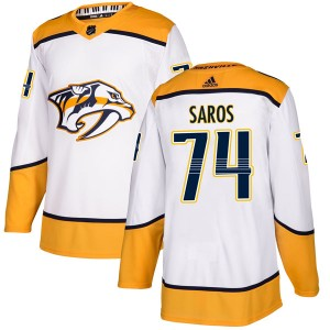 Juuse Saros Nashville Predators Men's Adidas Authentic White Away Jersey