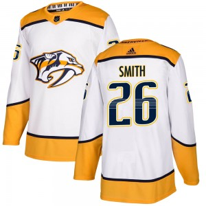 Cole Smith Nashville Predators Men's Adidas Authentic White ized Away Jersey