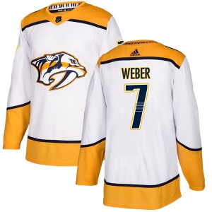 Yannick Weber Nashville Predators Men's Adidas Authentic White Away Jersey