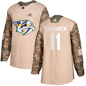 Eeli Tolvanen Nashville Predators Youth Adidas Authentic Camo Veterans Day Practice Jersey
