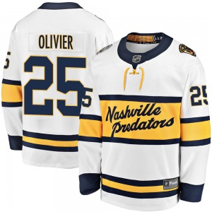 Mathieu Olivier Nashville Predators Men's Fanatics Branded White 2020 Winter Classic Breakaway Player Jersey