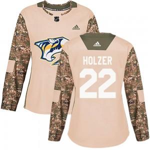Korbinian Holzer Nashville Predators Women's Adidas Authentic Camo ized Veterans Day Practice Jersey