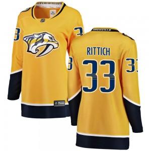 David Rittich Nashville Predators Women's Fanatics Branded Yellow Breakaway Home Jersey