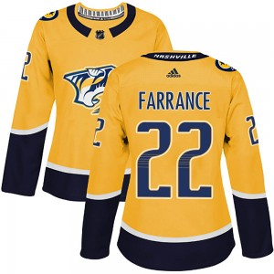 David Farrance Nashville Predators Women's Adidas Authentic Gold Home Jersey