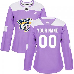 Women's Adidas Nashville Predators Customized Authentic Purple Fights Cancer Practice Jersey