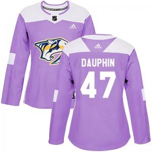 Laurent Dauphin Nashville Predators Women's Adidas Authentic Purple Fights Cancer Practice Jersey