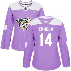 Mattias Ekholm Nashville Predators Women's Adidas Authentic Purple Fights Cancer Practice Jersey