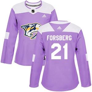 Peter Forsberg Nashville Predators Women's Adidas Authentic Purple Fights Cancer Practice Jersey
