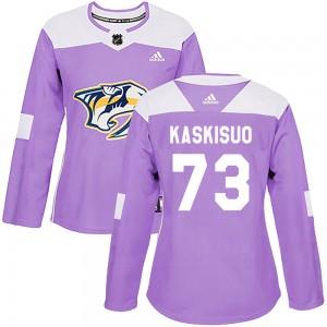 Kasimir Kaskisuo Nashville Predators Women's Adidas Authentic Purple Fights Cancer Practice Jersey