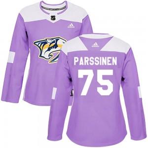 Juuso Parssinen Nashville Predators Women's Adidas Authentic Purple Fights Cancer Practice Jersey