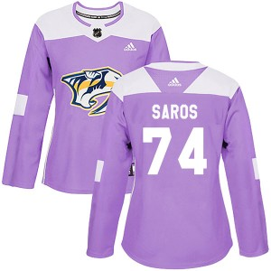 Juuse Saros Nashville Predators Women's Adidas Authentic Purple Fights Cancer Practice Jersey