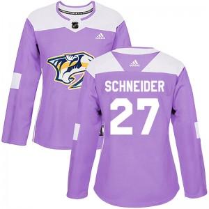 Cole Schneider Nashville Predators Women's Adidas Authentic Purple Fights Cancer Practice Jersey