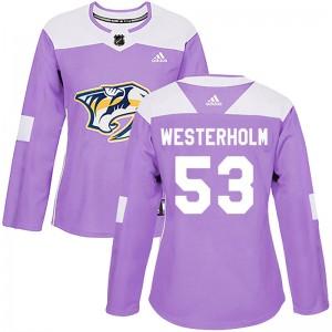 Niclas Westerholm Nashville Predators Women's Adidas Authentic Purple Fights Cancer Practice Jersey