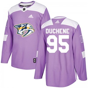 Matt Duchene Nashville Predators Men's Adidas Authentic Purple Fights Cancer Practice Jersey