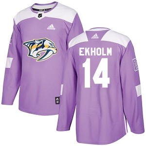 Mattias Ekholm Nashville Predators Men's Adidas Authentic Purple Fights Cancer Practice Jersey