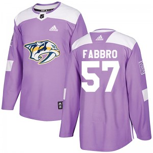 Dante Fabbro Nashville Predators Men's Adidas Authentic Purple Fights Cancer Practice Jersey