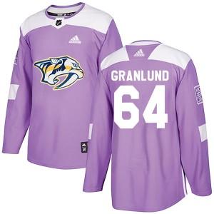 Mikael Granlund Nashville Predators Men's Adidas Authentic Purple Fights Cancer Practice Jersey