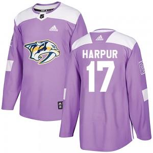 Ben Harpur Nashville Predators Men's Adidas Authentic Purple Fights Cancer Practice Jersey