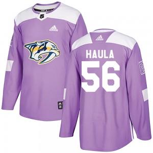 Erik Haula Nashville Predators Men's Adidas Authentic Purple Fights Cancer Practice Jersey