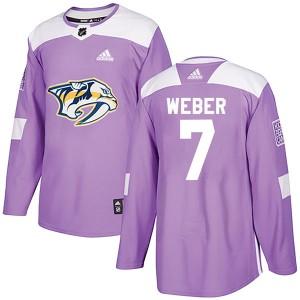 Yannick Weber Nashville Predators Men's Adidas Authentic Purple Fights Cancer Practice Jersey