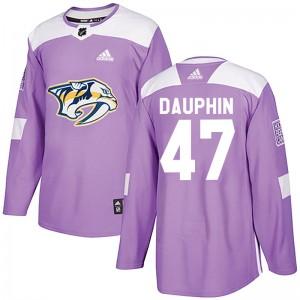 Laurent Dauphin Nashville Predators Youth Adidas Authentic Purple Fights Cancer Practice Jersey