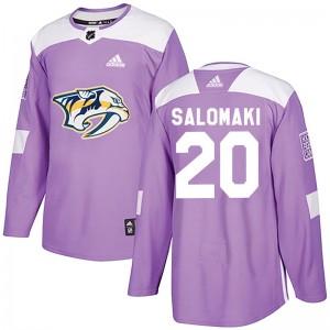 Miikka Salomaki Nashville Predators Youth Adidas Authentic Purple Fights Cancer Practice Jersey