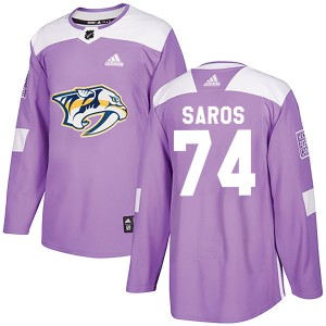 Juuse Saros Nashville Predators Youth Adidas Authentic Purple Fights Cancer Practice Jersey