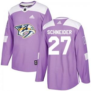 Cole Schneider Nashville Predators Youth Adidas Authentic Purple Fights Cancer Practice Jersey