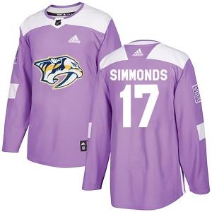 Wayne Simmonds Nashville Predators Youth Adidas Authentic Purple Fights Cancer Practice Jersey