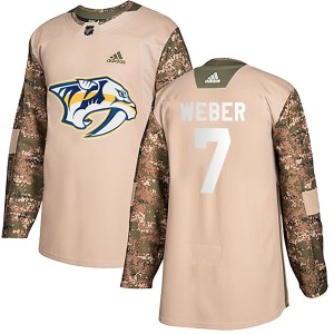 Yannick Weber Nashville Predators Men's Adidas Authentic Camo Veterans Day Practice Jersey