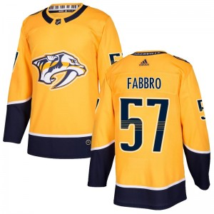 Dante Fabbro Nashville Predators Men's Adidas Authentic Gold Home Jersey