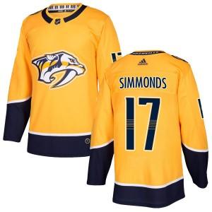 Wayne Simmonds Nashville Predators Men's Adidas Authentic Gold Home Jersey