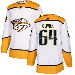 Mathieu Olivier Nashville Predators Youth Adidas Authentic White Away Jersey
