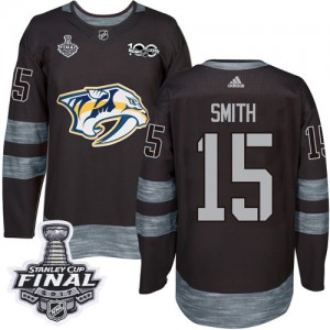 Craig Smith Nashville Predators Men's Adidas Authentic Black 1917-2017 100th Anniversary 2017 Stanley Cup Final Jersey