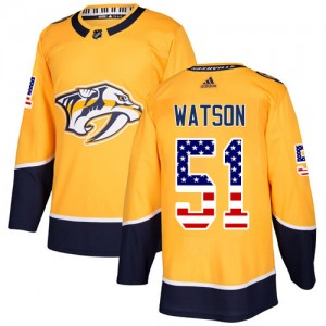 Austin Watson Nashville Predators Youth Adidas Authentic Gold USA Flag Fashion Jersey