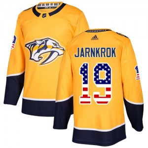 Calle Jarnkrok Nashville Predators Men's Adidas Authentic Gold USA Flag Fashion Jersey