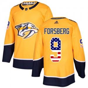 Filip Forsberg Nashville Predators Men's Adidas Authentic Gold USA Flag Fashion Jersey