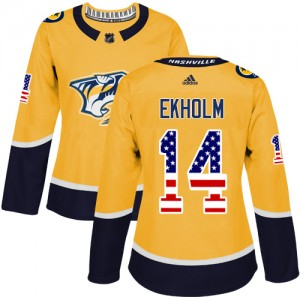 Mattias Ekholm Nashville Predators Women's Adidas Authentic Gold USA Flag Fashion Jersey