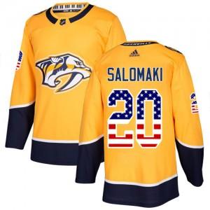 Miikka Salomaki Nashville Predators Men's Adidas Authentic Gold USA Flag Fashion Jersey