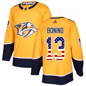 Nick Bonino Nashville Predators Men's Adidas Authentic Gold USA Flag Fashion Jersey