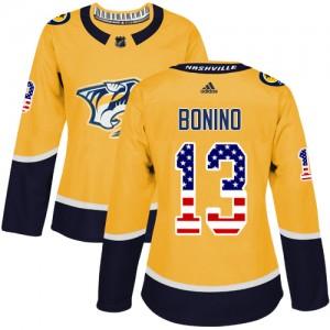 Nick Bonino Nashville Predators Women's Adidas Authentic Gold USA Flag Fashion Jersey
