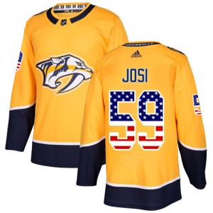 Roman Josi Nashville Predators Men's Adidas Authentic Gold USA Flag Fashion Jersey